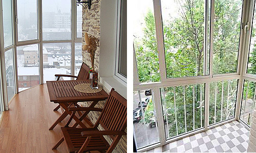 Примеры застекления балкона дизайнерский решения.